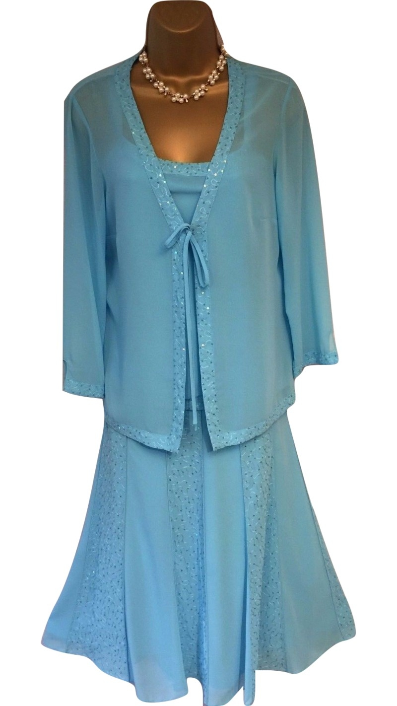 Stunning Turquoise Gina Bacconi 3 Piece Special Occasion Outfit UK ...